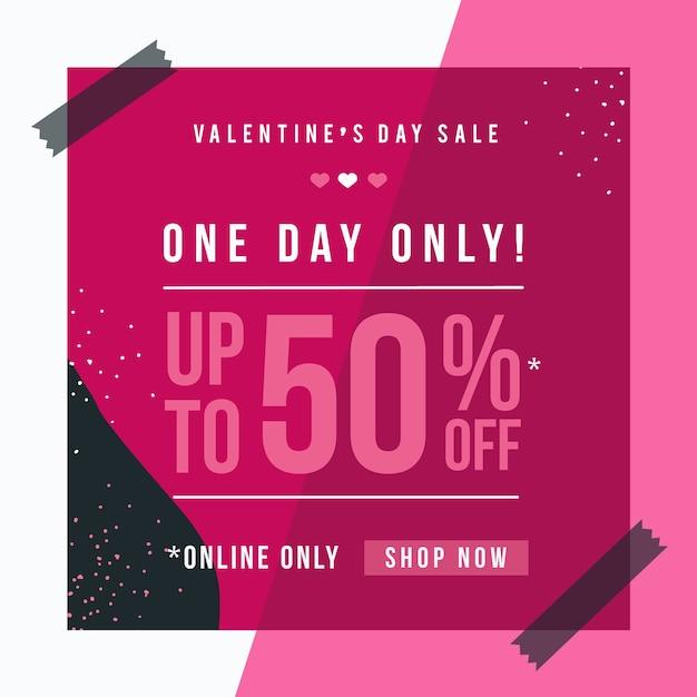 Flat valentine's day sale Free Vector