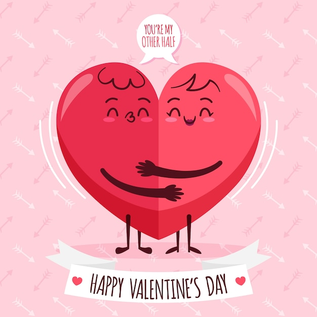 Flat Valentines Day Wallpaper Vector Free Download