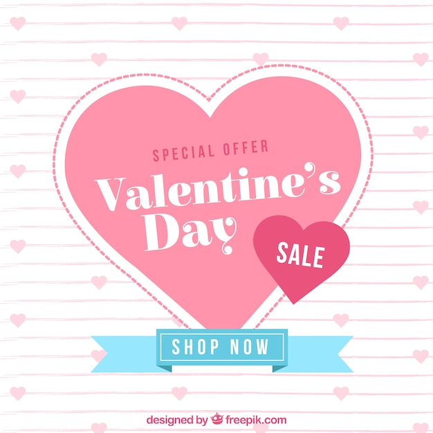 Flat valentine sale background Free Vector