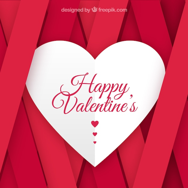 Flat Valentines Day Background With Pink Stripes Vector Premium
