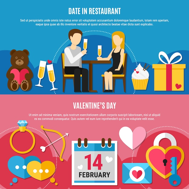 Flat valentines day banner set Free Vector
