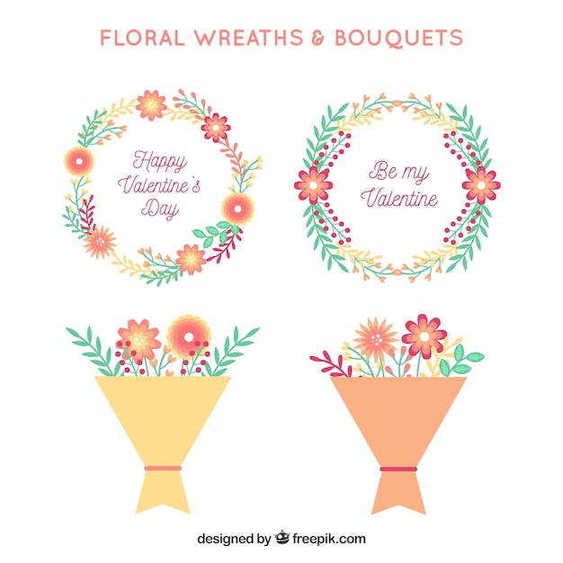 Flat valentines day bouquets and wreath