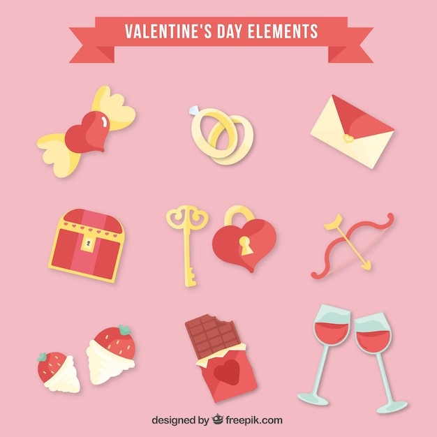Flat valentines day elements Free Vector