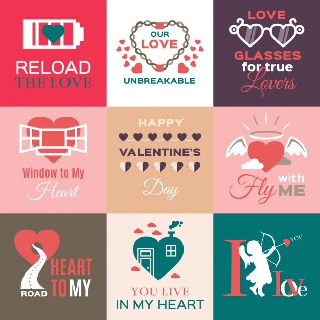 flat valentines day labels vector free download
