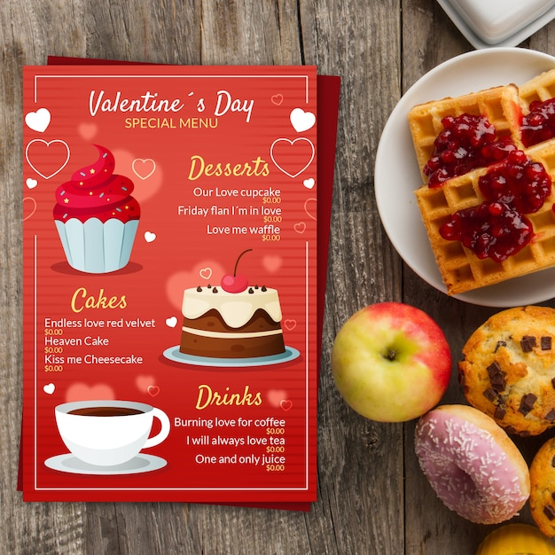 Flat valentines day menu template Free Vector