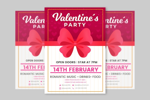 Flat valentines day party flyer template Free Vector