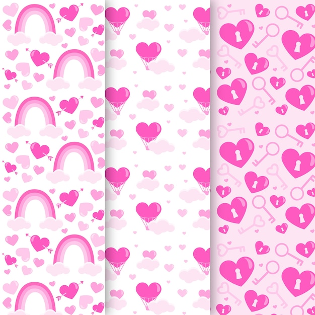 Flat valentines day pattern collection Free Vector