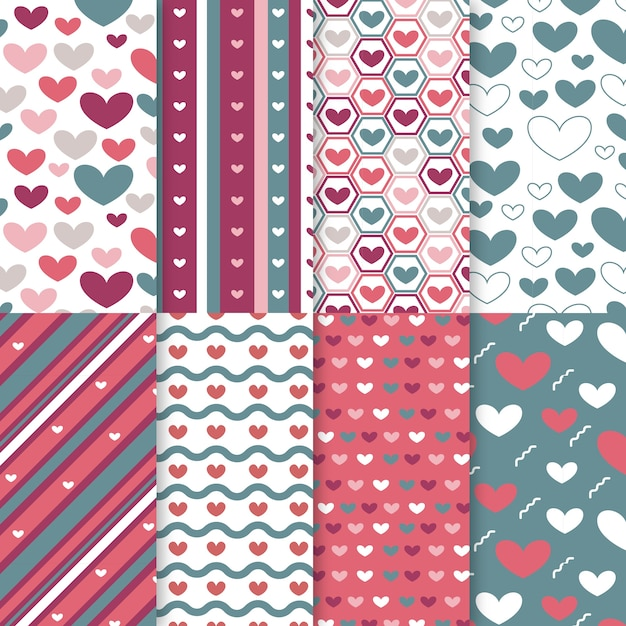 Flat valentines day pattern set Free Vector