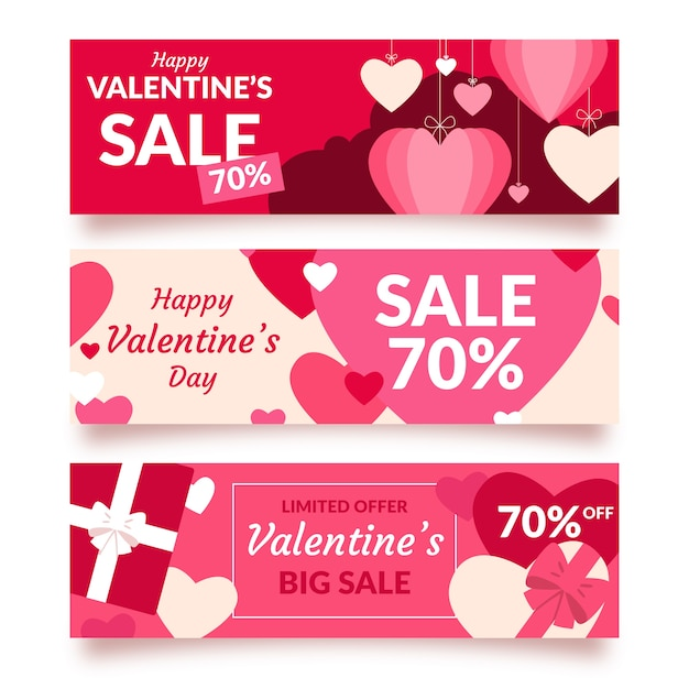 Flat valentines day sale banner concept Free Vector