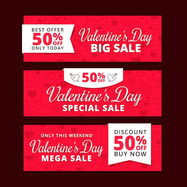Flat valentines day sale banners concept Free Vector