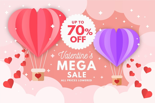 Flat valentines day sale banners Free Vector
