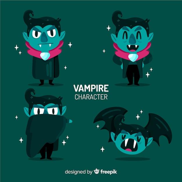 Collezione di personaggi vampiri piatti Vettore gratuito