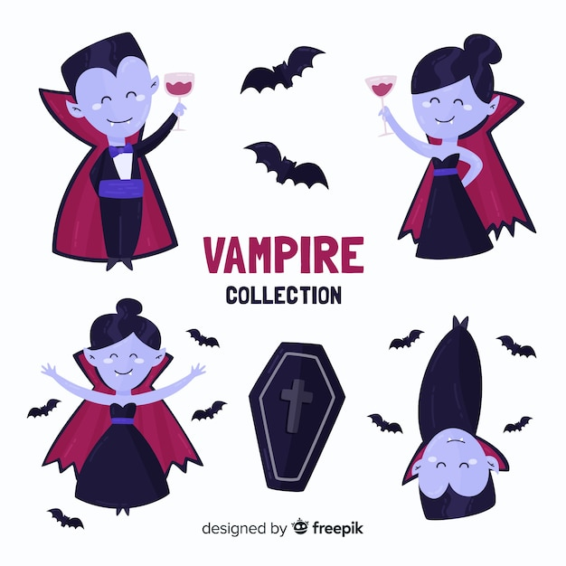 Flat vampire character collection Free Vector
