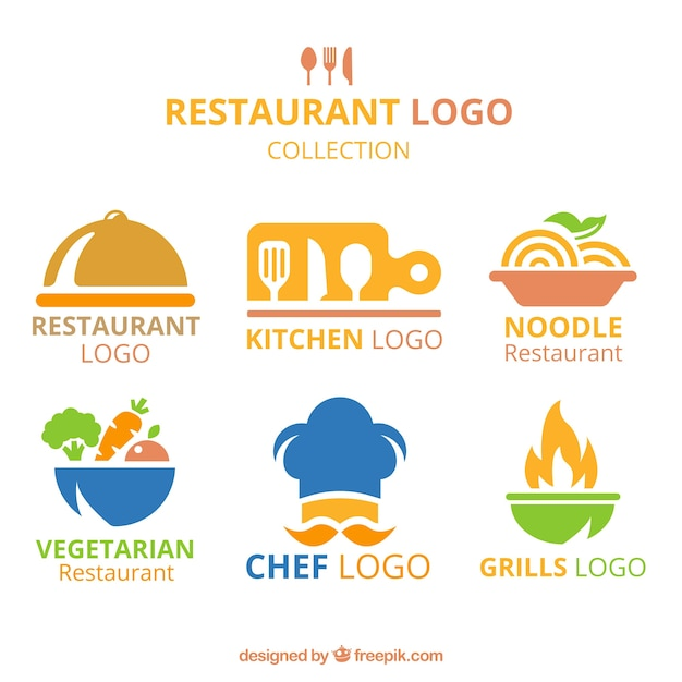Flat variety of colorful restaurant logos Free Vector