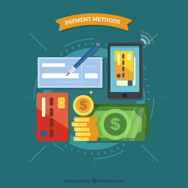 Flat variety of payment methods Free Vector