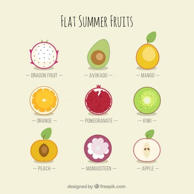 Flat variety of summer fruits Free Vector