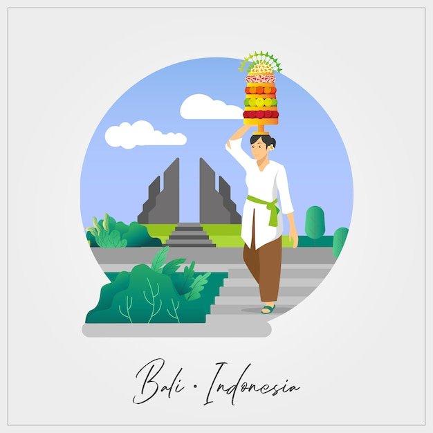 Flat vector of balinese woman Premium Vector