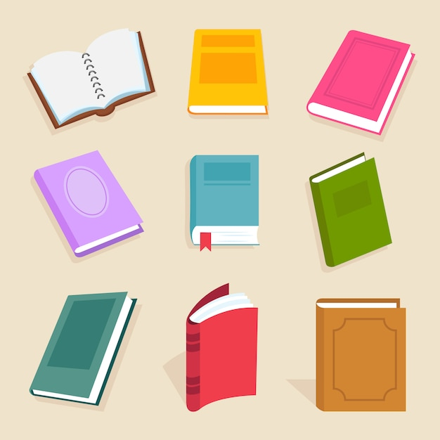 Flat vector books and reading documents. open science textbook, encyclopedia and dictionary icons Premium Vector
