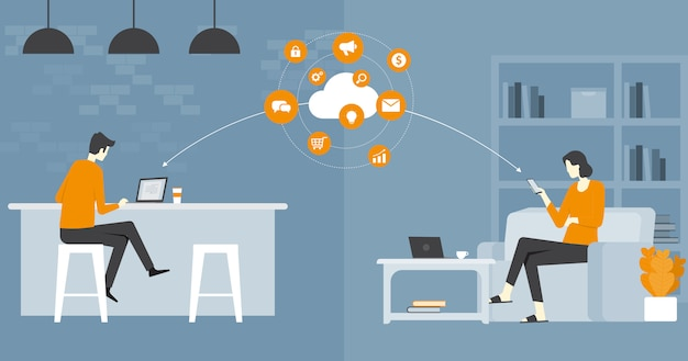 Flat vector business smart working and working online any workplace concept Premium Vector