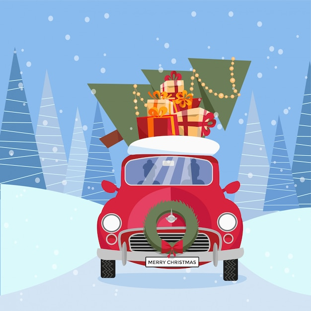 Flat vector cartoon illustration of retro car with presents, christmas tree on roof. little red car carrying gift boxes. Premium Vector