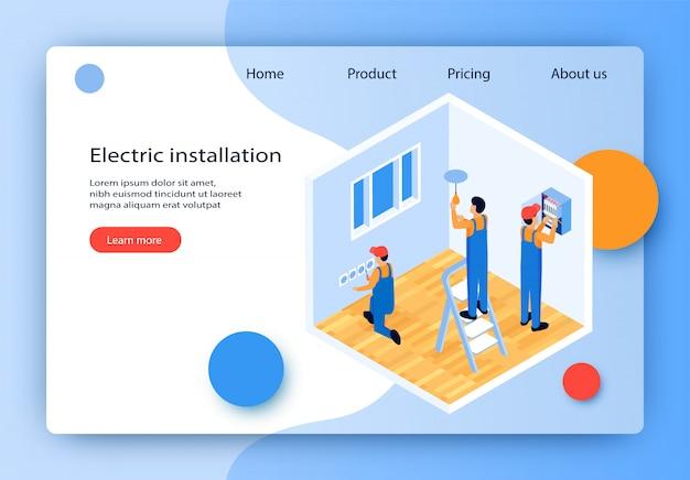 Flat vector electric installation landing page. Premium Vector