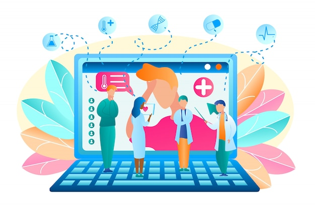 Flat vector group doctor discuss patient treatment. illustration man turned for help to doctor online. male and female medical professional standing on laptop are discussing symptom patient illness. Free Vector