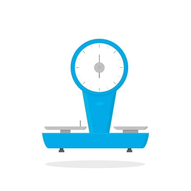 Flat vector icon of mechanical store scales. device for measurement of grocery products. business object. shop weigher Premium Vector