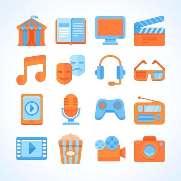 Flat vector icon set of entertainment symbols Premium Vector