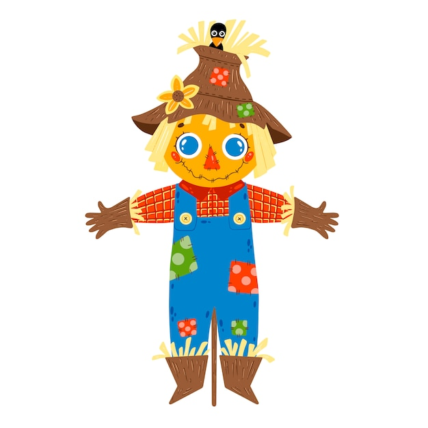 Flat vector illustration of cute cartoon farm boy scarecrow in blue denim overalls isolated on white background. Premium Vector