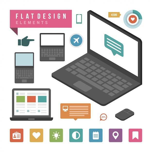 Flat vector illustration infographic design elements Premium Vector