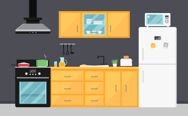 Flat vector kitchen with electric appliances, sink, furniture and dishes. Premium Vector