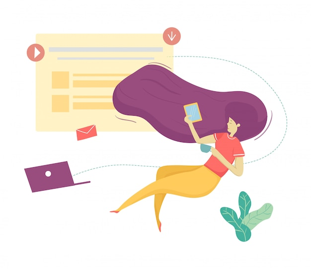 Flat vector modern woman character anti gravity social media communication Premium Vector