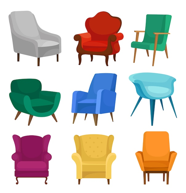 Flat vector set of armchairs. vintage and modern chairs with soft upholstery. Premium Vector