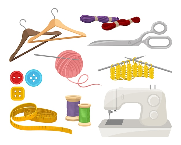 Flat vector set of objects related to sewing and knitting theme. Premium Vector