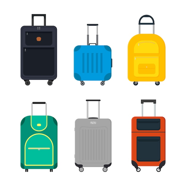Flat vector set of travel suitcase on wheels. Premium Vector