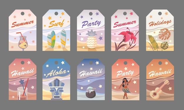 Плоский вектор летний тег в гавайском стиле. вечеринка, серфинг, праздники, алоха Бесплатные векторы
