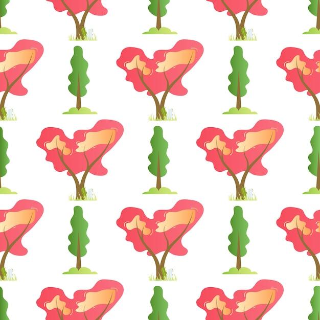 평면 벡터 여름 나무 원활한 만화 패턴 무료 벡터