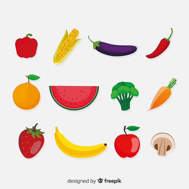 Плоский овощной и фруктовый фон Premium векторы