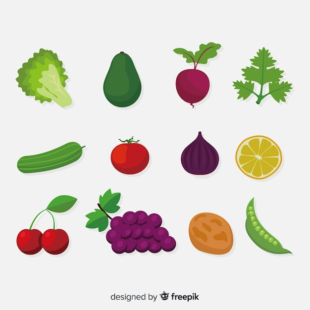 Flat vegetable and fruits background Free Vector