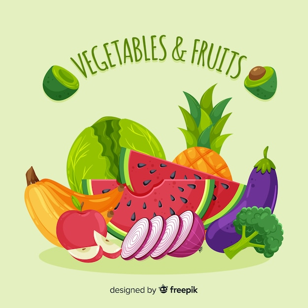 Flat vegetables and fruits background Free Vector