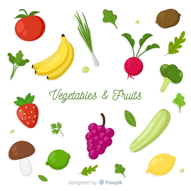 Flat Vegetables And Fruits Background Vector Free Download