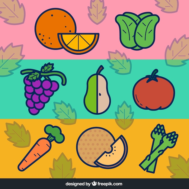 Flat vegetables and fruits banners Premium Vector