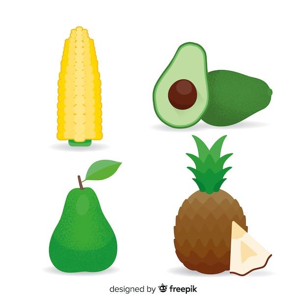 Verdure e frutta piatte Vettore gratuito