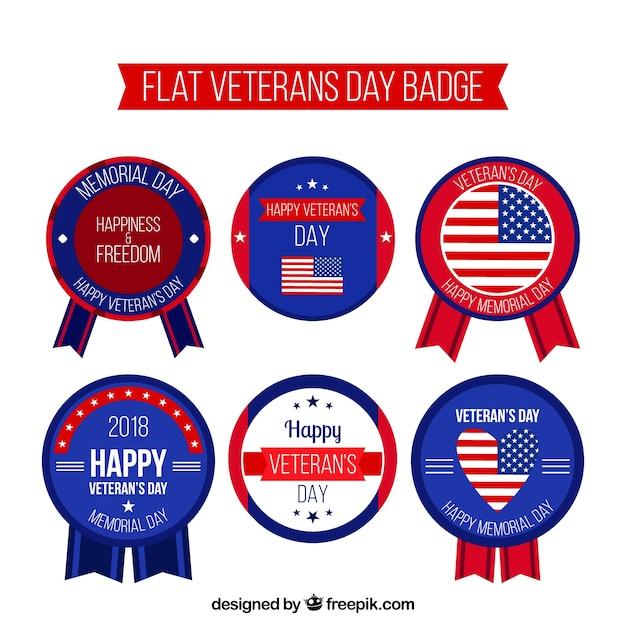 Flat veterans day badges