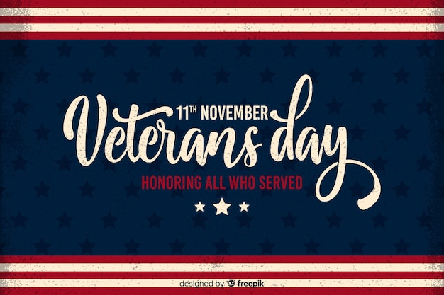 Flat veterans day honouring all who served Free Vector