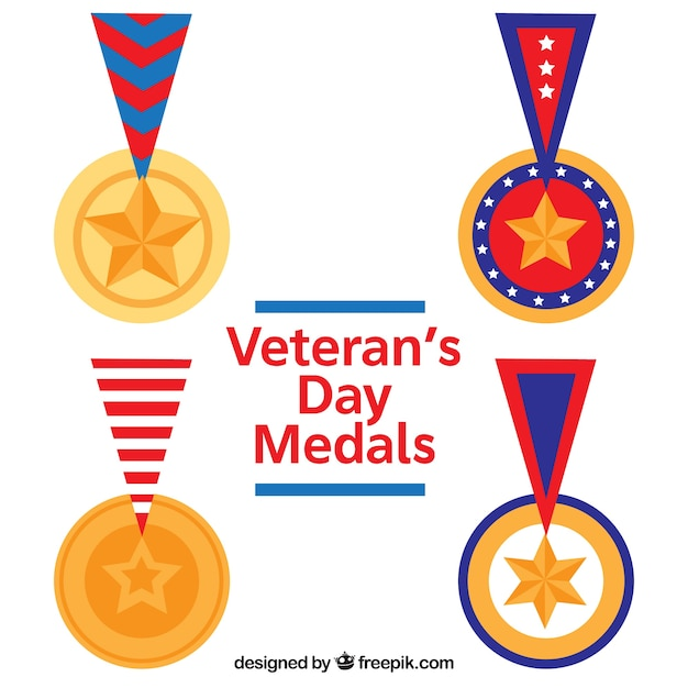 Flat veterans day medals