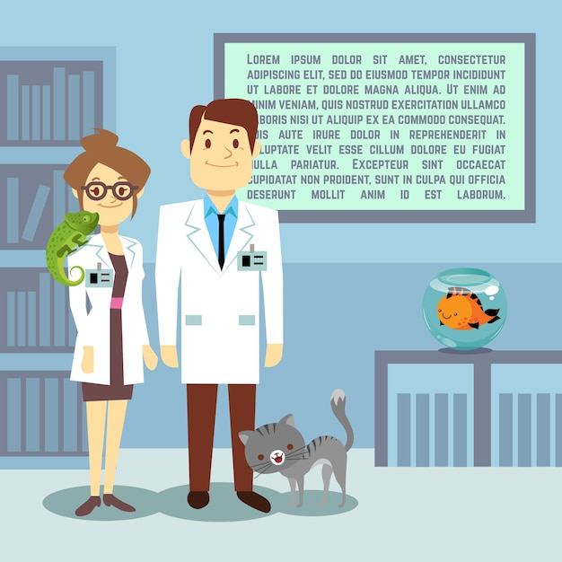 Flat veterinary office with doctors and animals Premium Vector