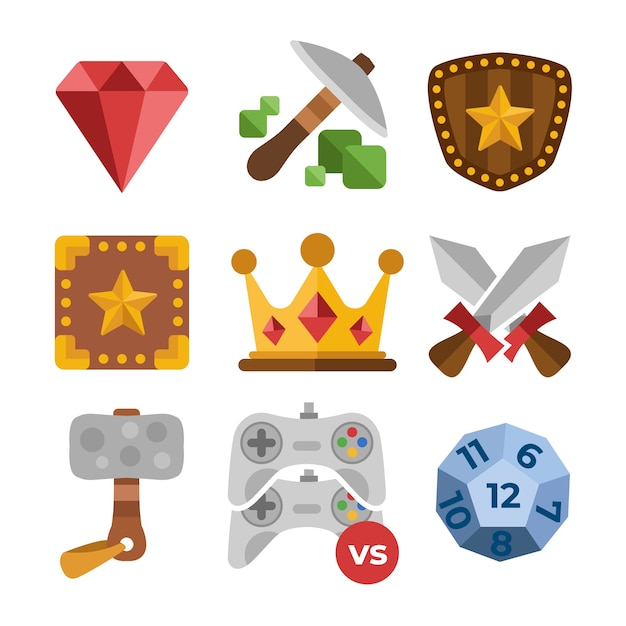 Flat videogame items set Vector | Free Download