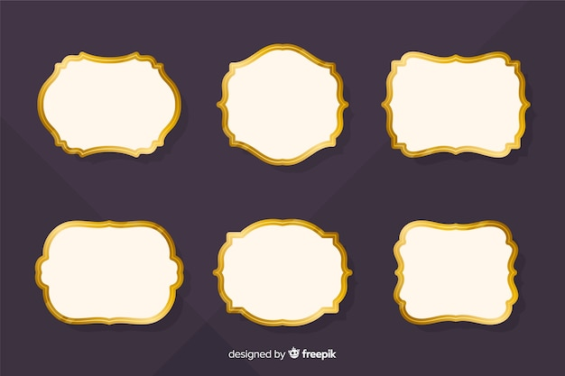 Flat vintage golden frame collection Free Vector