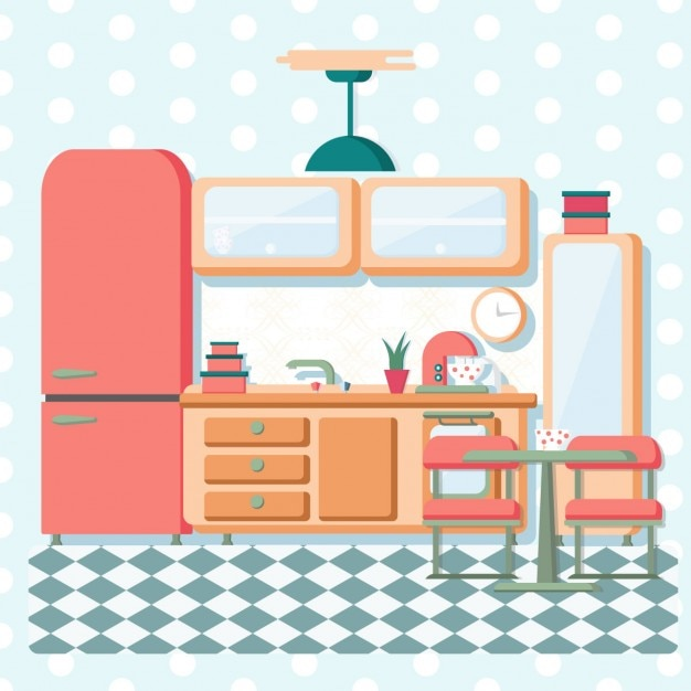 Retro Kitchen Illustration: Flat Vintage Kitchen Vector